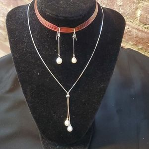 Natural Pearl Necklace and Earrings Sterling